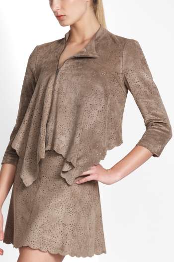 BCBGMAXAZRIA BRI PERFORATED FAUX-SUEDE JACKET