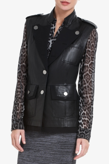 BCBGMAXAZRIA MARK LEATHER MILITARY VEST