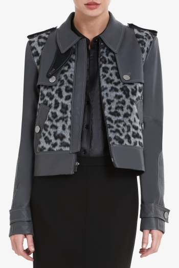 BCBGMAXAZRIA OLIVER CROPPED LEOPARD-PRINT FAUX-FUR TRENCH WITH LEATHER CONTRAST