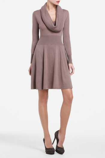 BCBGMAXAZRIA SHEILA WOOL COWL-NECK DRESS