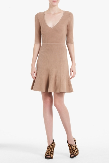 BCBGMAXAZRIA ALLIE SHORT-SLEEVE A-LINE SWEATER DRESS