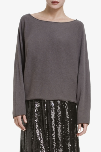 BCBGMAXAZRIA GIANA WIDE-NECK CROPPED CASHMERE TOP