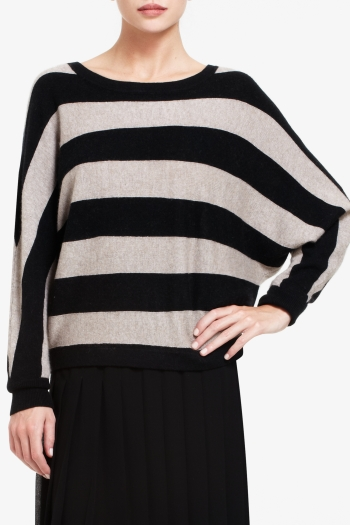 BCBGMAXAZRIA CAMILLE STRIPED BOATNECK SWEATER