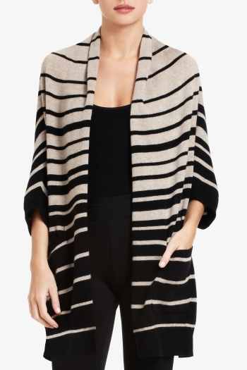 BCBGMAXAZRIA GABY OVERSIZED DRAPED STRIPED CARDIGAN