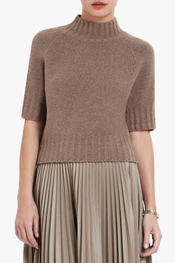 BCBGMAXAZRIA LUCINDA SHORT-SLEEVE CROPPED BOUCLE TURTLENECK