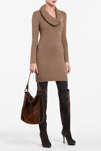 BCBGMAXAZRIA COWL-NECK TUNIC SWEATER