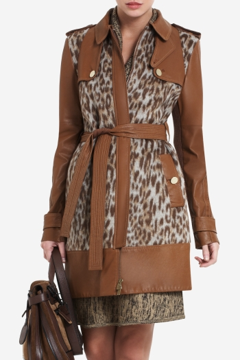 BCBGMAXAZRIA BLAKE LEOPARD-PRINT FAUX-FUR TRENCH COAT WITH LEATHER CONTRAST