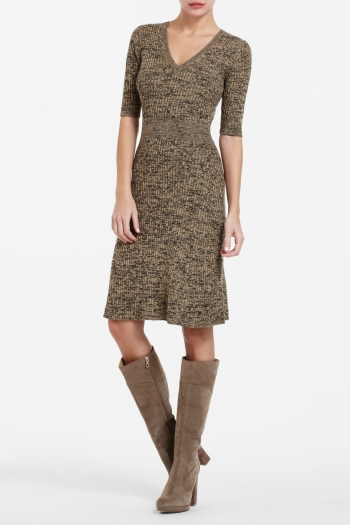 BCBGMAXAZRIA SHAY RIBBED V-NECK SWEATER DRESS
