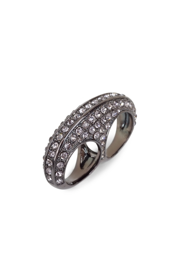BCBGMAXAZRIA PAVE DOUBLE-BAND RING