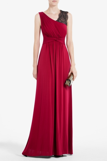 BCBGMAXAZRIA QUENBY LONG DRAPED DRESS