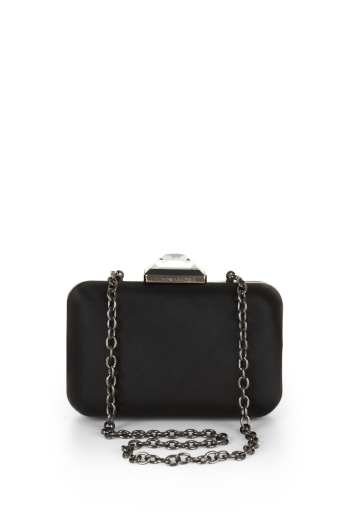 BCBGMAXAZRIA REESE EVENING SATIN CRYSTAL MINAUDIERE