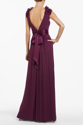 BCBGMAXAZRIA TOREY V-NECK LONG DRESS