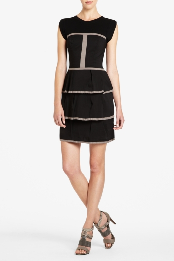 BCBGMAXAZRIA YASMINA TIERED POPLIN DRESS