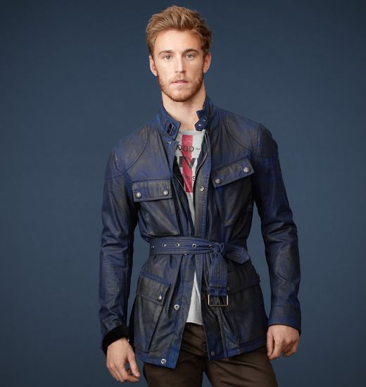 BELSTAFF MEN WOODCOTE WAX JACKET Faded Navy