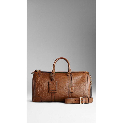 BURBERRY MEN'STHE LARGE ALCHESTER IN ALLIGATOR LEATHER TAN