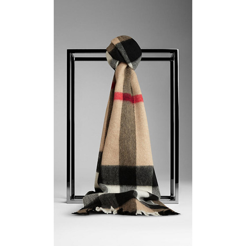 BURBERRY MEN'SEXPLODED CHECK CASHMERE SCARF CAMEL CHECK