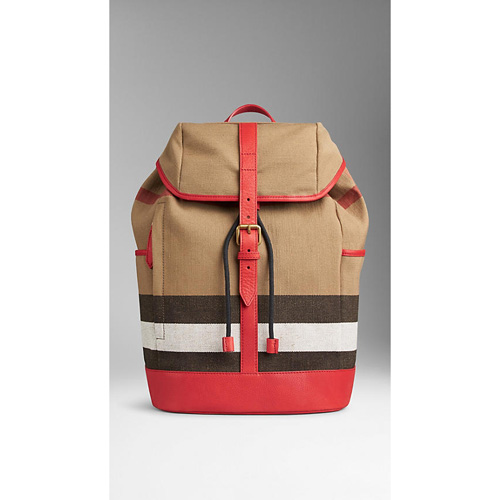 BURBERRY WOMEN'S CANVAS CHECK BACKPACK BRIGHT MILITARY RED