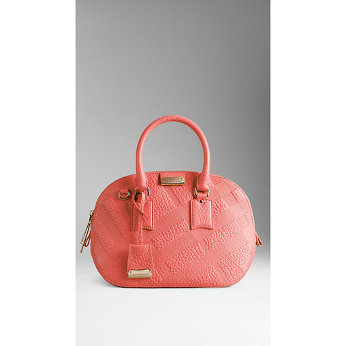 BURBERRY WOMEN'S THE SMALL ORCHARD IN EMBOSSED CHECK LEATHER ROSE PINK
