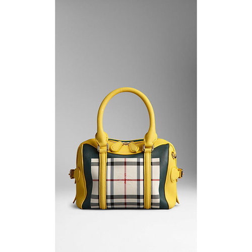 BURBERRY WOMEN'S THE MINI BEE IN HORSEFERRY CHECK PRIMROSE YELLOW