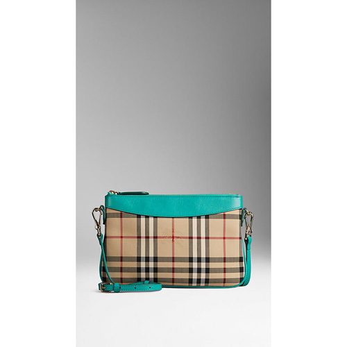 BURBERRY WOMEN'S HORSEFERRY CHECK AND LEATHER CLUTCH BAG AQUA GREEN
