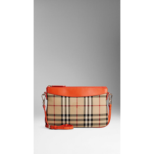 BURBERRY WOMEN'S HORSEFERRY CHECK AND LEATHER CLUTCH BAG VIBRANT ORANGE