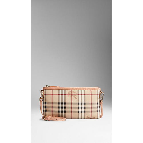 BURBERRY WOMEN'S HAYMARKET CHECK CLUTCH BAG PALE CORAL PINK