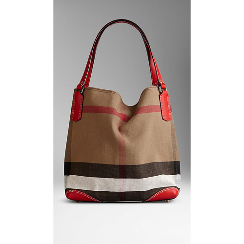BURBERRY WOMEN'S MEDIUM CANVAS CHECK TOTE BAG CADMIUM RED