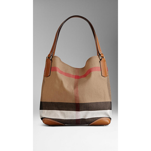 BURBERRY WOMEN'S MEDIUM CANVAS CHECK TOTE BAG SADDLE BROWN