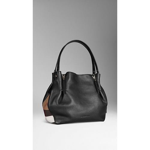 BURBERRY WOMEN'S MEDIUM CHECK DETAIL LEATHER TOTE BAG BLACK