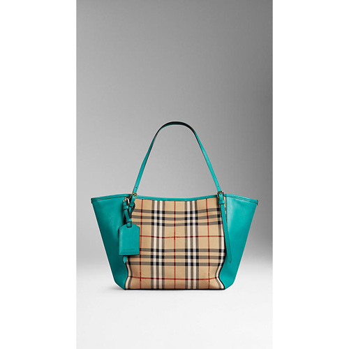 BURBERRY WOMEN'S THE SMALL CANTER IN HORSEFERRY CHECK AND LEATHER HONEY/AQUA GREEN