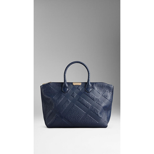 BURBERRY WOMEN'S MEDIUM EMBOSSED CHECK LEATHER TOTE BAG BLUE CARBON