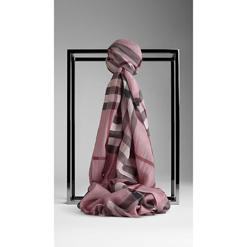 BURBERRY WOMEN'S CHECK WOOL SILK SCARF PINK HEATHER CHECK