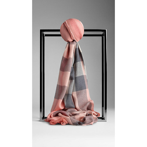 BURBERRY WOMEN'S CHECK SILK CASHMERE SCARF CORAL PINK