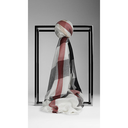 BURBERRY WOMEN'S CHECK MODAL CASHMERE AND SILK SCARF IVORY CHECK