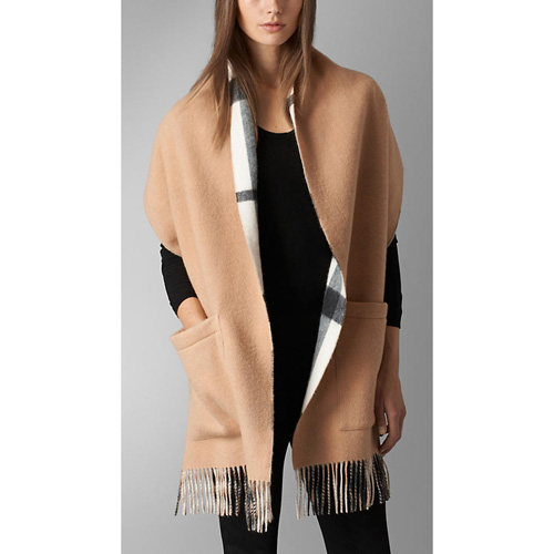 BURBERRY WOMEN'S CHECK WOOL CASHMERE STOLE IVORY CHECK