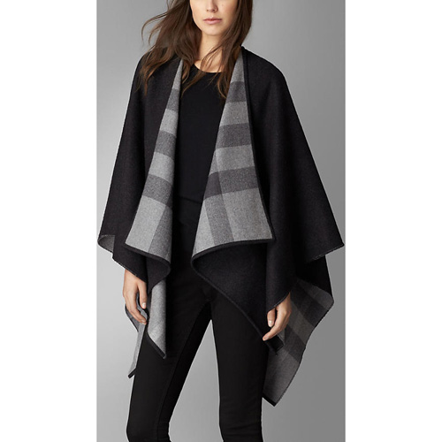 BURBERRY WOMEN'S CHECK-LINED WOOL WRAP CHARCOAL CHECK