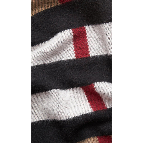 BURBERRY WOMEN\'S CHECK WOOL AND CASHMERE BLANKET PONCHO HOUSE CHECK/BLACK