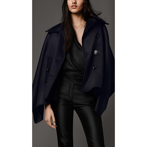 BURBERRY WOMEN'S MILITARY CASHMERE CAPE NAVY