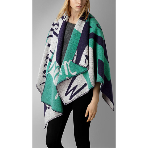 BURBERRY WOMEN'S BOOK COVER PATTERN WOOL CASHMERE PONCHO BRIGHT NAVY PRINT