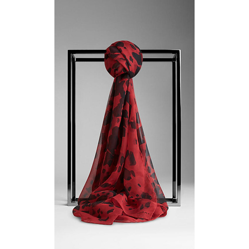 BURBERRY WOMEN'S ANIMAL PRINT SILK GEORGETTE SCARF MILITARY RED PRINT