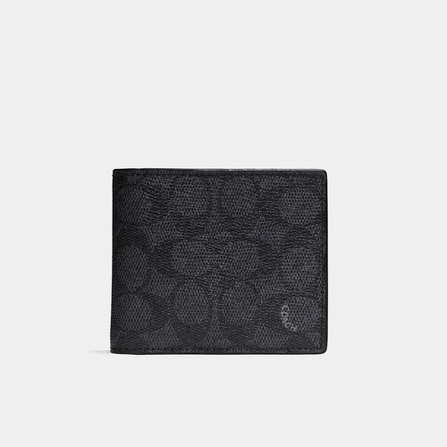 COACH DOUBLE billfold wallet in embossed signature canvas CHARCOAL