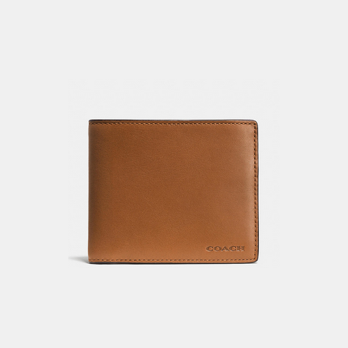 COACH COMPACT id wallet SADDLE