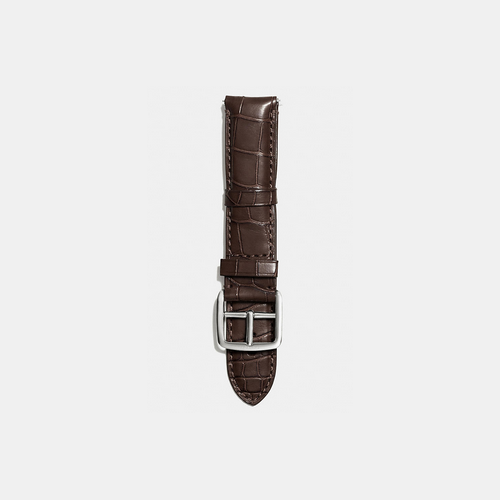 COACH BLEECKER watch strap in crocodile MAHOGANY