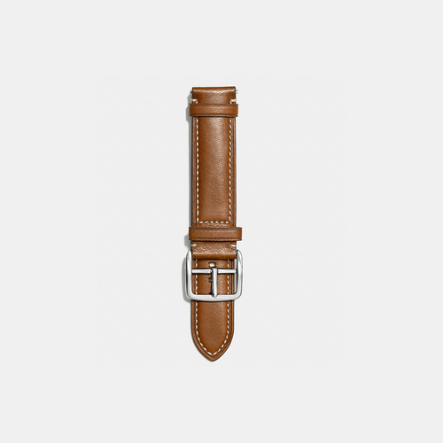 COACH BLEECKER leather watch strap FAWN/NATURAL