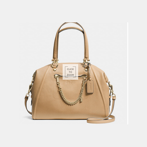 COACH PRAIRIE satchel with chain LIGHT GOLD/NUDE