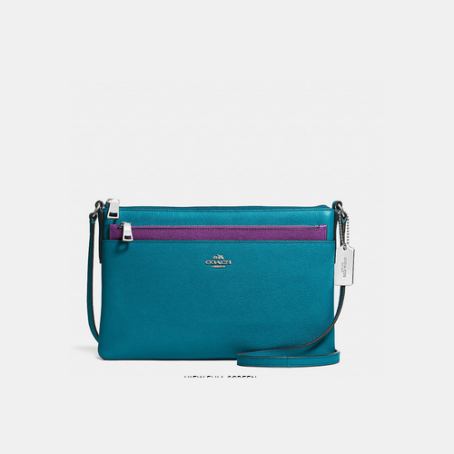 COACH SWINGPACK with pop-up pouch SILVER/TEAL
