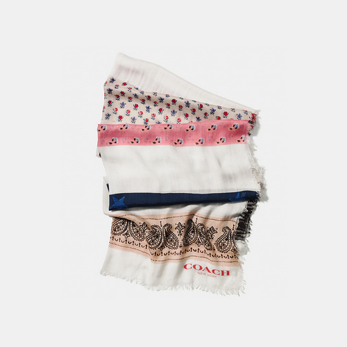 COACH PATCHWORK oblong scarf WHITE/MULTICOLOR