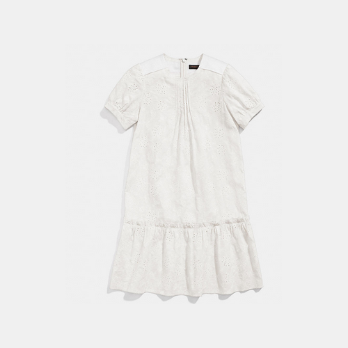 COACH LACE roundneck dress SOFT WHITE