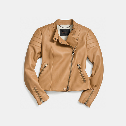 COACH REFINED moto jacket TAN