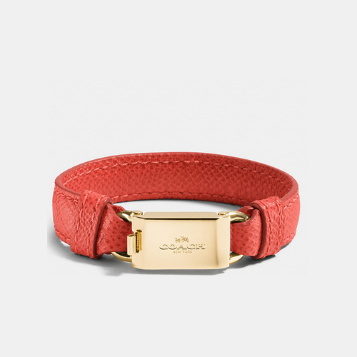 COACH LEATHER horse and carriage id bracelet GOLD/WATERMELON